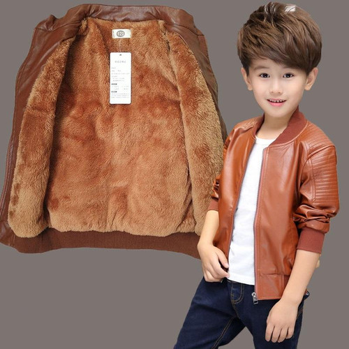 Brand Fashion Winter Child Coat Waterproof Baby Girls Boys Leather Jackets Warm Children Outerwear Kids Outfits For 90-165cm