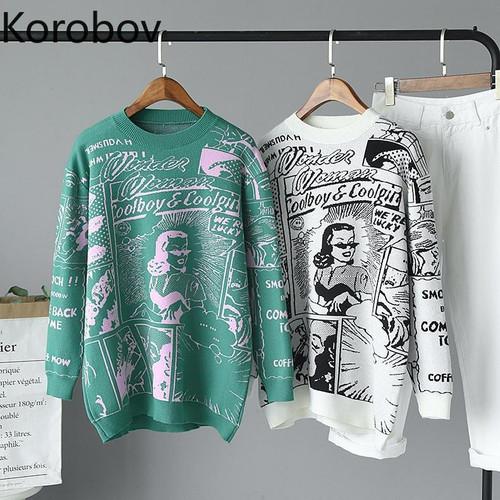 Korobov Harajuku Cartton Embroidery Pattern Women Sweaters Korean Casual O Neck Long Sleeve Pullovers Basic Sueter Mujer 79035