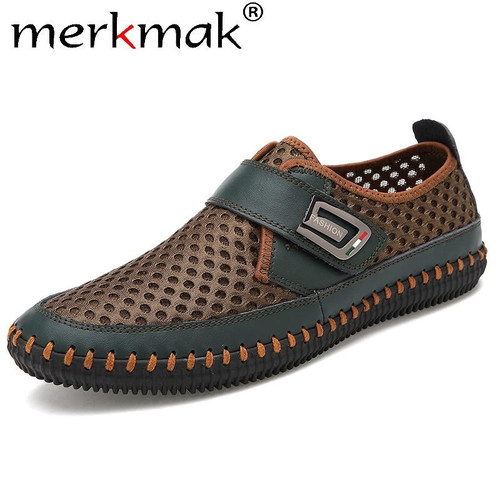 Merkmak Summer Shoes Men Flats Loafers Breathable Casual Chaussure Homme Real Leather Driver Moccasins Loafer casual Men Shoes