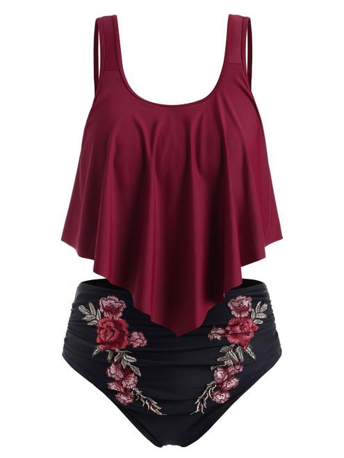 Plus Size Overlay Embroidery Bikini Sets