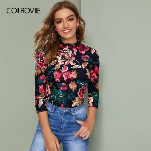 COLROVIE Mock-neck Floral Print Fitted Top Women 2019 Fall Elegant Slim Fit Tees Multicolor Long Sleeve Pullover Tops