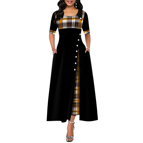 2020 Elegant Long Dress Women spring Plaid Print Party Dress