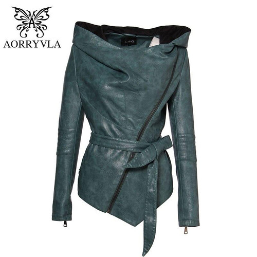 AORRYVLA Brand Women Leather Jacket Colorful Hooded Leather jackets Short Length Ladies PU Faux Leather Coat Casual High Quality