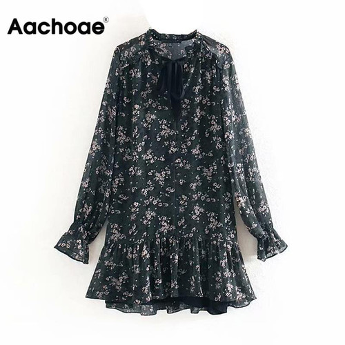 Women Ruffle Bow Tie Mini Floral Print Dress Vintage Long Sleeve Vestido Casual Loose Pleated Ladies Dress Ruffles Party Dresses