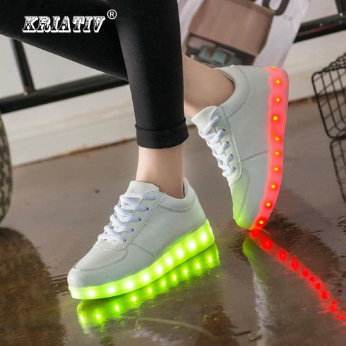 KRIATIV Luminous Led Neon Sneakers Light up Flashing Trainer Flasher glowing sneakers White Luminous Shoe with usb for Boy&Girl - Joelinks store