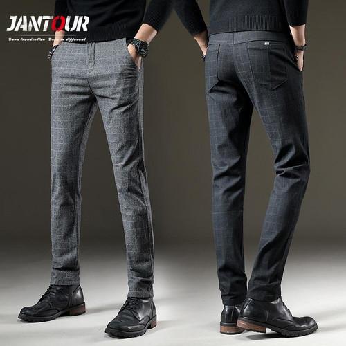 jantour Brand Pants Men Casual Elastic Long Trousers Male Cotton plaid straight gray Work Pant men's spring Large big size 28-38