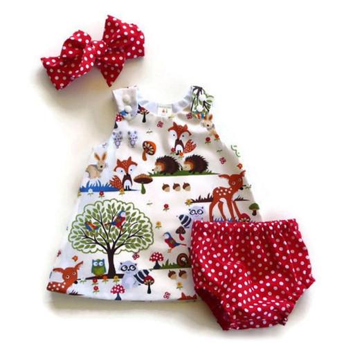 Newborn Baby Girl Clothes Toddler Floral Headband Cartoon Dress Dot Shorts Outfits Clothes 0-24M 3pcs sets