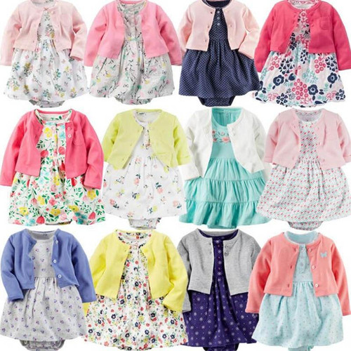 Infant Baby Girls Bodysuit Dress long-Sleeved Coat+Short SLeeve Dress 2Pieces Baby Girls Clothes sets