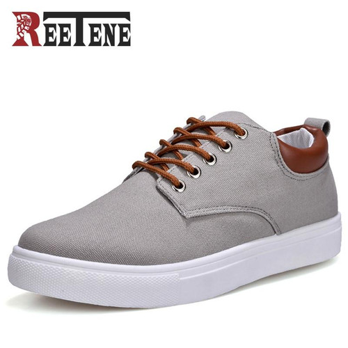 REETENE New Arrival Spring Summer Comfortable Casual Shoes Mens Canvas Shoes For Men Lace-Up Brand Fashion Flat Loafers Shoe - Joelinks store