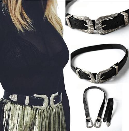 Local stock Women Ladies Vintage Retro Boho Leather Belt Double Metal Buckle Waist Belt Waistband 2019 New in arrival