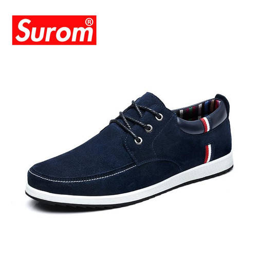 SUROM Men's Leather Casual Shoes Moccasins Men Loafers Luxury Brand Spring New Fashion Sneakers Male Boat Shoes Suede Krasovki - Joelinks store