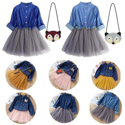 Toddler Kids Baby Girl Clothes Set Denim Tops T-shirt Lace Mesh Tutu Skirt Outfits Cowboy Suit Children Set with Bag 3pcs Set
