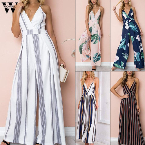 Womail bodysuit Women Summer Sleeveless Strip Jumpsuit Print Strappy Holiday Long Playsuits Trouser Fashion 2019 dropship f28
