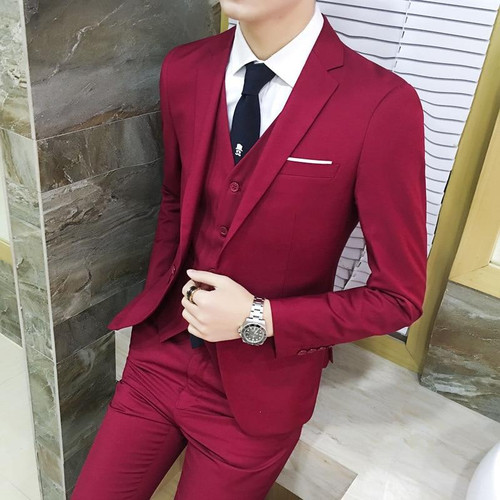 Suit 2019 New Style Spring And Autumn Coat Popular Brand Small Suit Leisure Suits for Men Suit Pants Waistcoat Three-piece Set