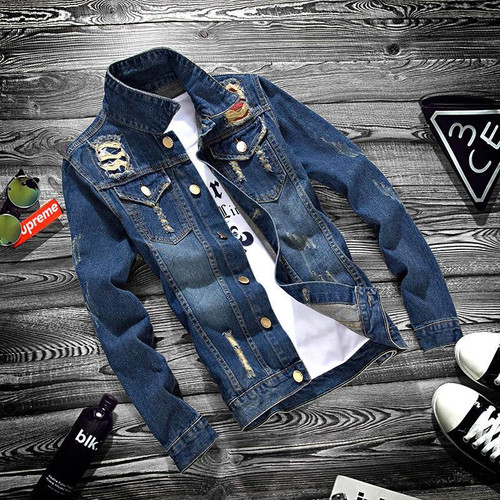 ZOGAA Spring Autumn Youth Jeans Jacket Men Holes Denim Jacket Turn-down Collar Slim Coat Cowboy Hip Hop Streetwear Overcoat
