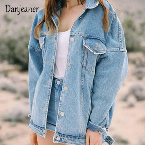 Danjeaner  BF Wind Loose Large Size Denim Jacket Female Turn Down Collar Coat Casual Jean Jackets Frayed Pattern Basic Coat