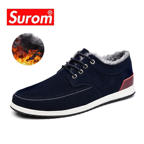 SUROM Men's Leather Casual Shoes Brand Autumn Winter New Fashion Sneakers Men Loafers Adult Moccasins Male Suede Shoes Krasovki - Joelinks store
