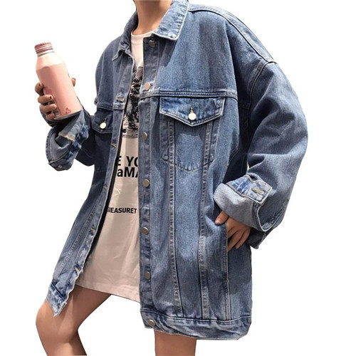 Solid Jean Jeans Jacket For Women Loose Casual Blue Women Coats Female Outwear Denim Feminine Chaqueta Mujer Coat Autumn