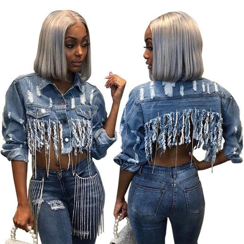 Tsuretobe Tassel Ripped Cropped Jean Jacket Women Autumn Chain Long Sleeve Denim Jacket Streetwear Short Denim Coat Female Outwe