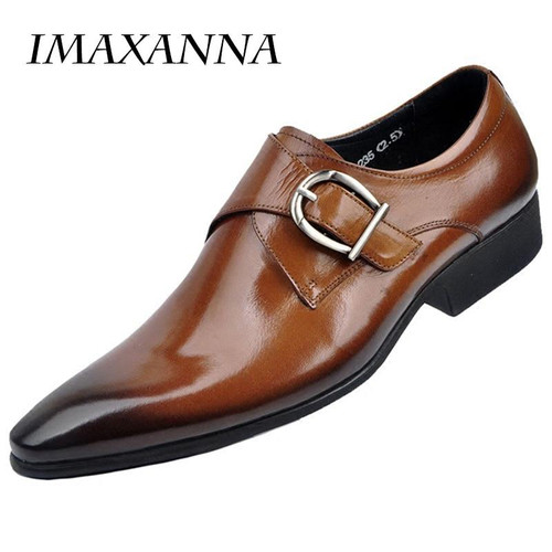 IMAXANNA 2018 New Men Leather Shoes Man Flat Classic Men Dress Shoes Leather Italian Formal Oxford Plus Size 38-48 - Joelinks store