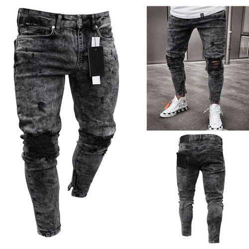 feitong Cotton Jeans Men Spring 2020 MenClothes Denim Pants Distressed Freyed Slim Fit Casual Trousers Stretch Ripped Jeans