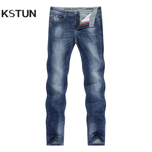 KSTUN Men's Jeans Summer Thin Business Casual Slim Straight Jeans Stretch Denim Pants Trousers Classic Cowboys Young Man Jean 40