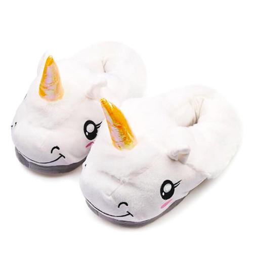 Winter Children Unicorn Slippers For Kids Plush Baby Girls Boys Cartoon cotton Slippers With Closed Heel Adult Home Flip Flops - Joelinks store