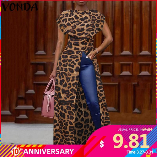 Leopard Blouse Women Tunic VONDA 2020 Summer Tops Vintage Long Shirts Office Holiday Split Hem Party Tops Plus Size Blusa