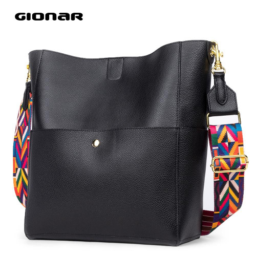 GIONAR RFID Genuine Real Soft Cow Leather Handbags Luxury Bag Designer Bucket Tote Purse Crossbody Shoulder Bag for Women