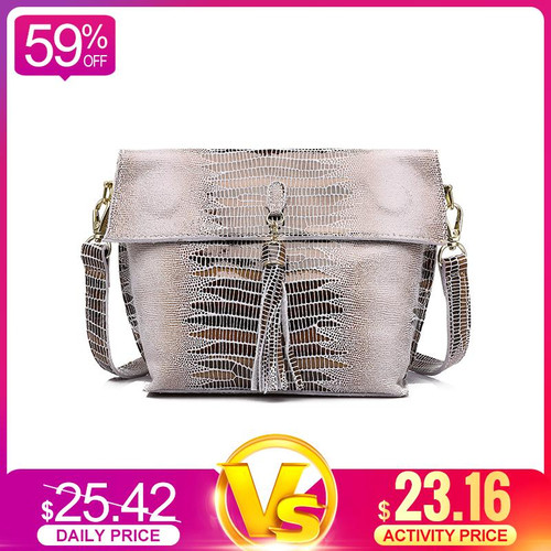 REALER women messenger bags genuine leather Shoulder crossbody bag ladies handbags tassel serpentine female student small purse