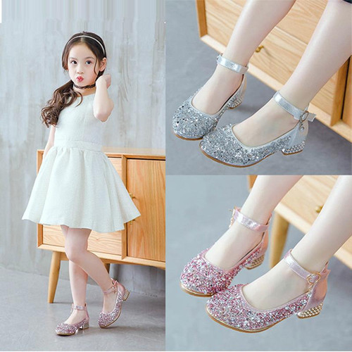 Kids Flower Children Little Girl High Heels Sequins Dress Shoes For Girls School Wedding And Party Prinses Shoes New 2018 Shoe - Joelinks store