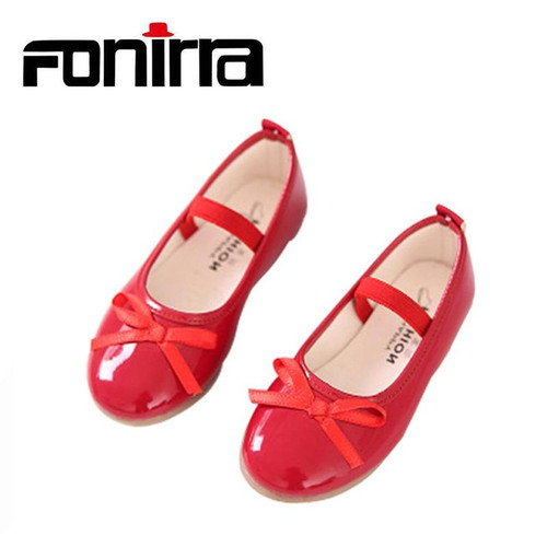 2017 Fashion Girls Casual Shoes Bowtie PU Leather Shoes for Girls Princess Ballet Flats Shoes for Party Wedding Girls Shoes 001 - Joelinks store