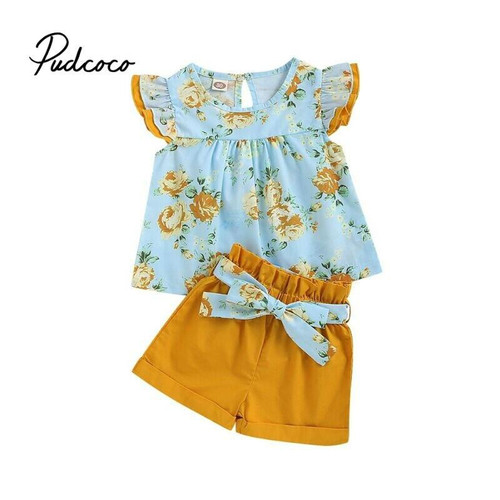 2020 Kid Baby Short Sleeve Tops Ruffles Blouse Girls Short Trouser Suit Shorts 2pcs Casual Outfit Clothes Children Summer Sets