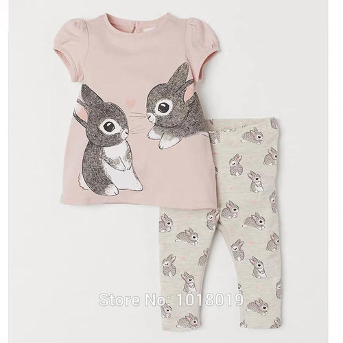 2-7Y Baby Girl Clothes 100% Cotton Summer Bunny  Girls Tees Shorts Outfits New 2020