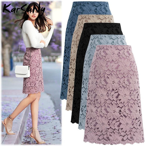 Women Skirt Summer Plus Size Lace Elegant Office Skirts Womens Pencil Bandage Skirt For Women Skirts Knee-length High Waist 2020