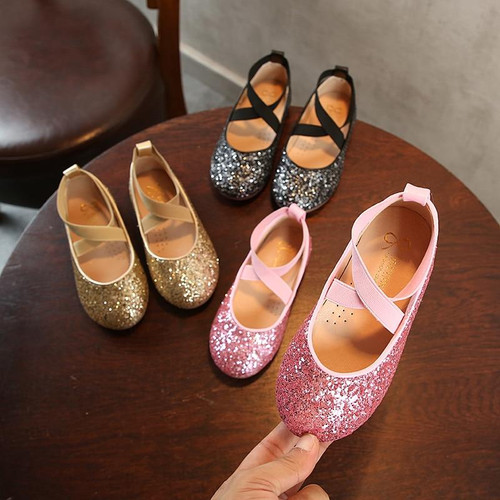 Spring autumn Children girls Bling Rhinestone shoes Flat princess dance party Shoes 26-35 3colors YY-251 TX08 - Joelinks store