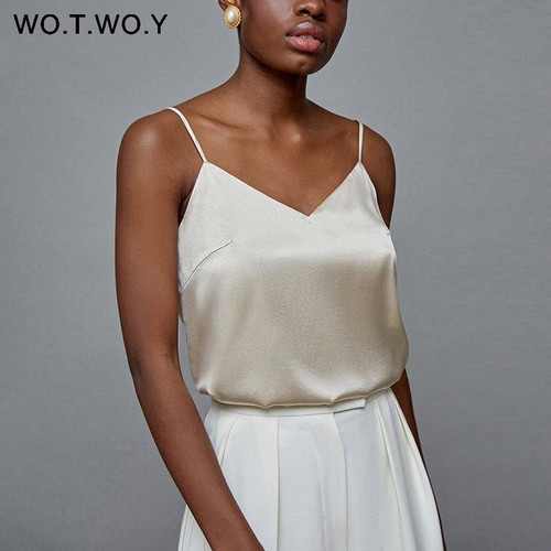 WOTWOY Sexy Deep V-neck Slim Tank Top Women Sleeveless Solid Skinny Female Camisole Fashion Tops Women Summer 2020 Soft Touching