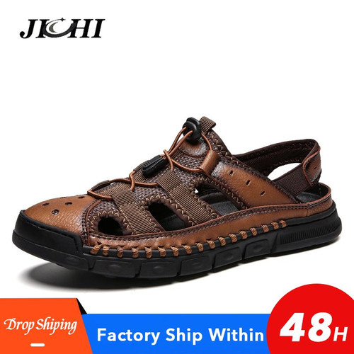 2019 New Big Size Genuine Leather  Men Sandals Summer Quality Beach Slippers Casual Sneakers Outdoor Beach Shoes 38-46