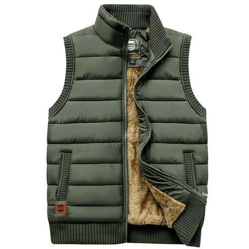 Newest 2020 Autumn Winter Men Coat Warm Sleeveless Jacket Casual Men Vest Coat Fleece Army Green Waistcoat Big Size 5XL