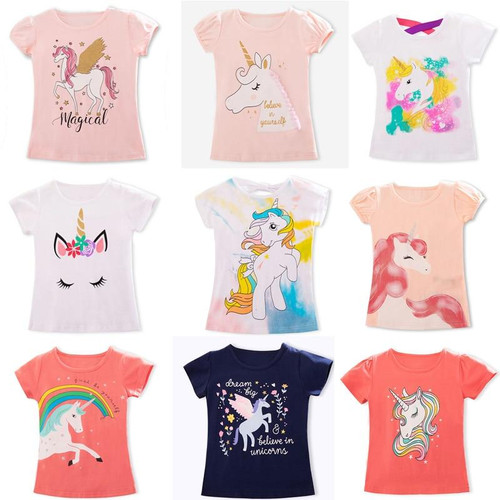 2020 Summer Fashion Unisex Unicorn T-shirt Children  Short Sleeves White Tees Baby Kids Cotton Tops For Girls Clothes 3 8Y