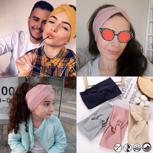 17KM 13 Color Cotton Headband For Women Girl Baby Headband Cross Hair Accessories