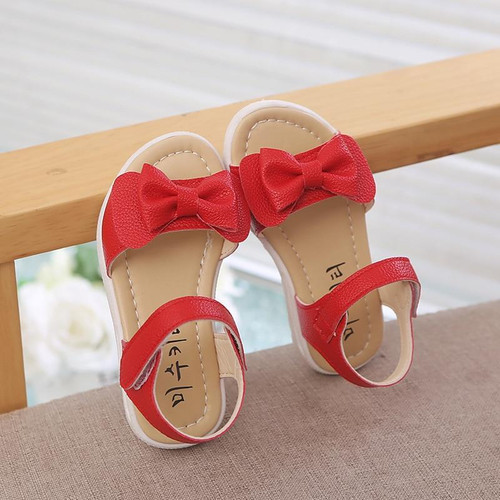 Girls Sandals 2019 Summer New Fashion Cute Bow Children Princess Shoes Baby Girls Fish-mouth Beach Sandals Size 21-30 Red Pink