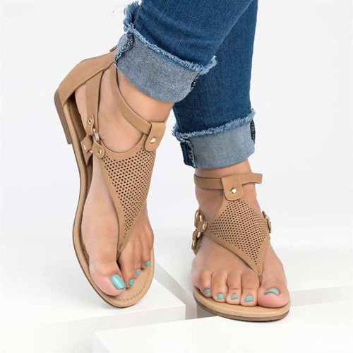 Flats casual shoes woman sandals female 2020 fashion flat with ZIP sandals women hoes solid clip toe hollow women sandals