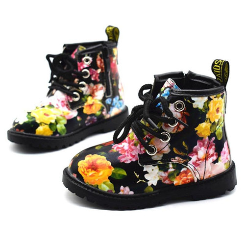 2018 Kids Girls Boots Autumn And Winter PU Leather Waterproof Boots Zip Rome Children Martin Boots Fashion Baby Girl Shoes - Joelinks store