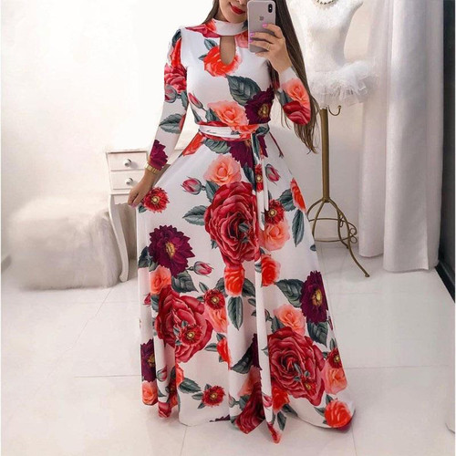Oufisun Bohemia Flower Print Women's Dress Casual Hollow Out Maxi Dresses Fashion Boho Belt Tunic Party Dress Vestidos Plus Szie