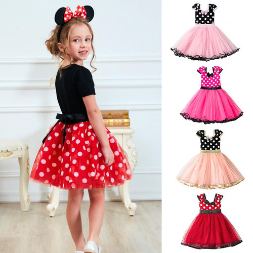 Girls Fancy Mickey Minnie Mouse Dress Cosplay Mini Mouse Costume Kids Dot Princess Dresses Baby Child Birthday Party Ballet Gown