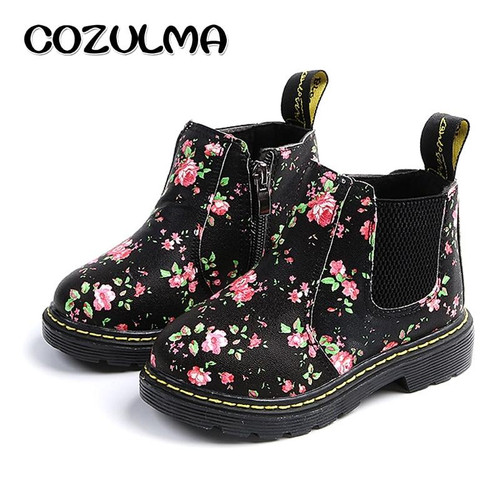 COZULMA Kids Ankle Boots Girls Boys Floral Flower Print Chelsea Boots Girls Autumn Martin Boots Children Winter Shoes size 21-36 - Joelinks store