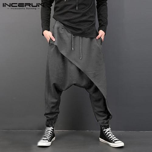 INCERUN Plus Size Men Casual Drape Drop Crotch Harem Hip-hop Pants Trouser Baggy Dancing Pants Gothic Punk Style Harem Pants Men