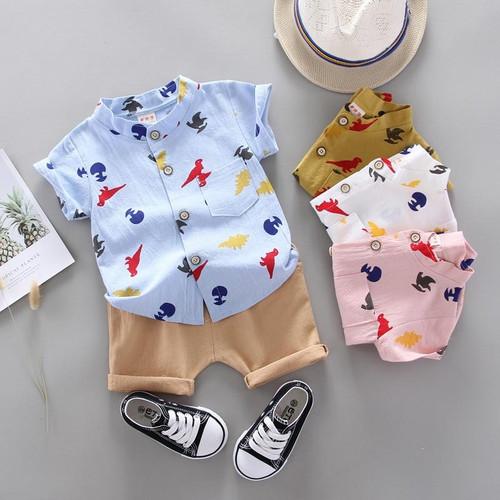 2020 New Baby Clothes Toddler Boy Clothes 2pcs Newborn Kids Boys Summer Tops Car Dinosaur Printed T-shirt Pants Shorts Outfits