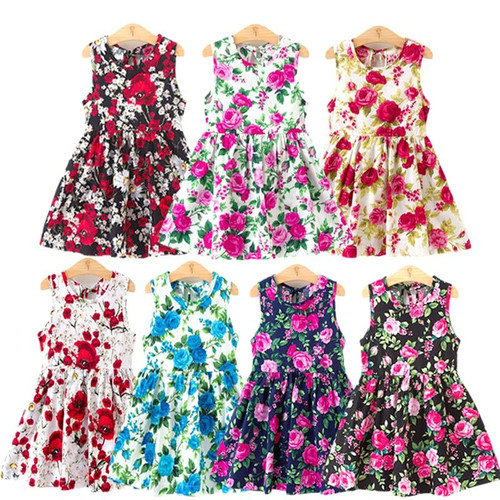 Girl Dress Cute 2019 Cotton Sleeveless Flower Print Cotton and Linen Floral Dress Baby Girl Spring Summer Dresses for Girls